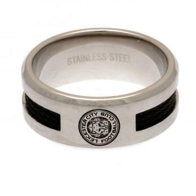 Official Leicester City F.C. Black Inlay Ring Small Xmas Football Gift