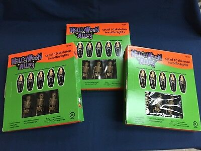 3 Never Used New In Box Halloween Alley Set of 10 Skeleton Coffin String Lights