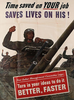 Vintage 1943 World War II Army Tanks Home Front Work Incentive Labor Poster WW2