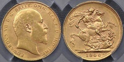 Great Britain, 1906 Sovereign - PCGS MS62