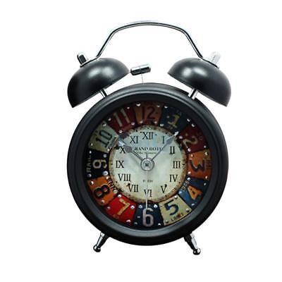 Retro Metal Analog Twin Bell Alarm Clock Battery Powered Nightlight Clock
