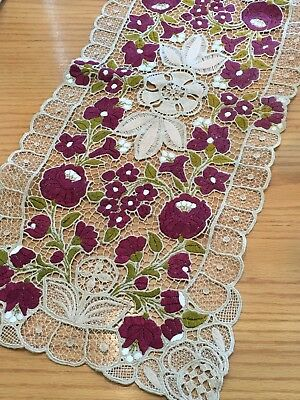 Vintage European Ecru Needle Lace Table Runner W/ Burgundy Embroidered Flowes