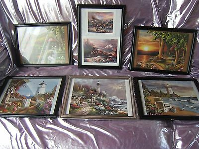 6 x BEAUTIFUL QUALITY PRINT PICTURES 3 LIGHTHOUSE 1 TRAINS & 2 COUNTRY