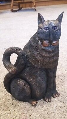 Sitting Large Black/Bronze Cat Figurine Statue Home