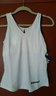 Babolat Performance Womens Sleeveless Tank Top Built in Bra, White, Small, NWT