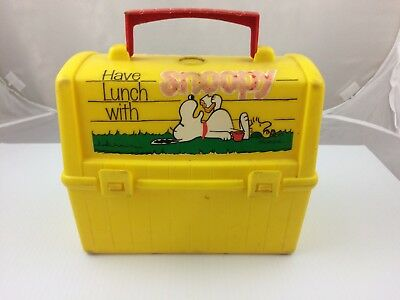 Vintage 1968 Peanuts Snoopy Woodstock Plastic Lunch Box King Seeley Thermos