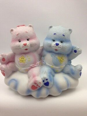 Vintage Care Bears Baby Hugs Tugs Pink Blue Star Ceramic Figurine American Greet