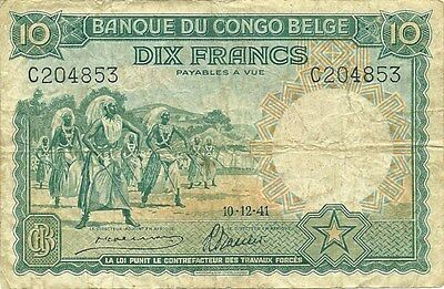 Belgian Congo 10 Francs 1941 P-14 First Year Of Type - Scarce Note