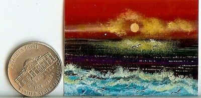 PRINT 2x1.5 Inch GLOSSY Clouds Seascape Waves Dollhouse PRINT 1:12 Scale HYMES