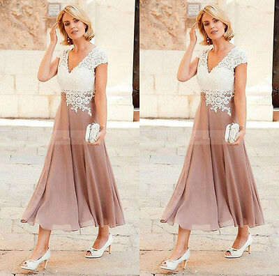Short Tea Length Mother of the Bride Groom Dress Lace Chiffon Formal Mother Gown