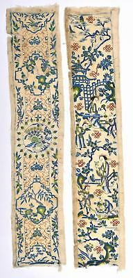 2 1900's Chinese Silk Embroidery Textile Robe Sleeve Band Cuff Panel Figure