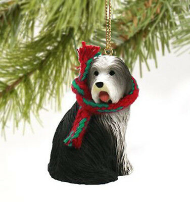 BEARDED COLLIE DOG CHRISTMAS ORNAMENT HOLIDAY Figurine Scarf