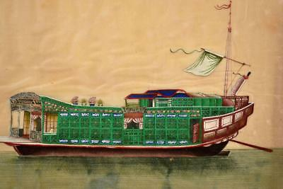 Early 20C Chinese Rice Paper Watercolor Painting Junk Boat Ship