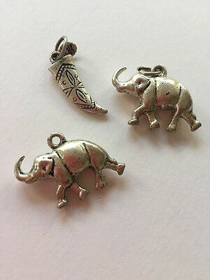 Vintage 3 Piece Lot Of Charms: 2 Elephants, Horn