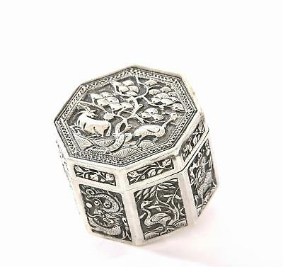 Early 20C Chinese Silver Repousse Octagon Shaped Box Dragon Qilin Crane Deer