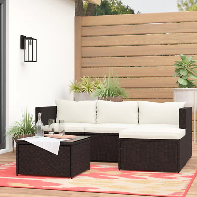 5 PCS Rattan Wicker Sofa Set Sectional Couch Cushioned Furniture Patio Outdoor