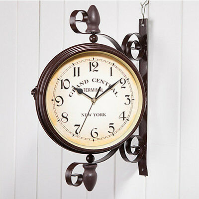 Vintage Double Side Wall Clock Antique-Look Brown Retro Train Station Style Cloc