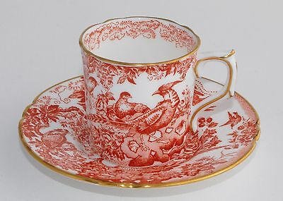 1977 Royal Crown Derby RED AVES Demitasse Coffee Can & Saucer (Multiple Avail)