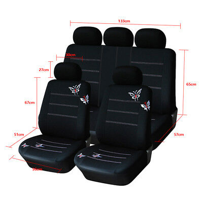 11Pcs Butterfly Embroidery Car Seat Covers Full Set Front+Rear Seat Covers Black
