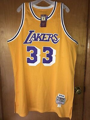 NBA Kareem Abdul-Jabbar Los Angeles Lakers 1979-80 Authentic Made Jersey  Size 56 4bce31b39