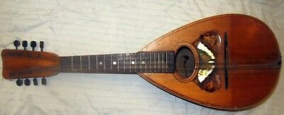 """Lyon and Healy Antique """"Tater Back"""" Mandolin bowl BUTTERFLY design original case"""