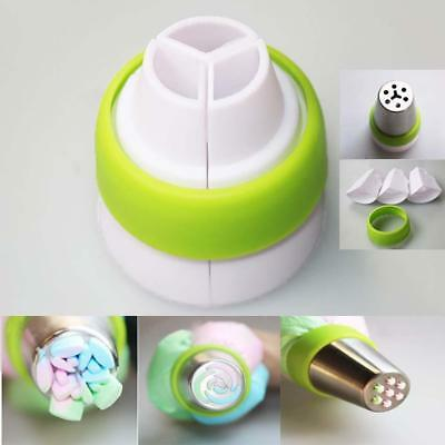 Icing Piping Bag Nozzle Converter Tri-color Cake Decorating Tool 3 Hole 3 Color