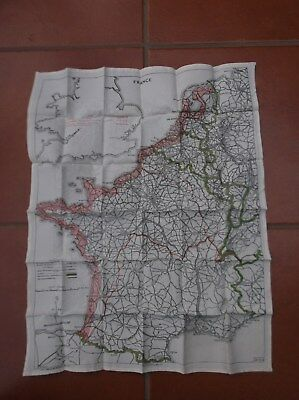 WW2 doubled sided Silk escape map, issued to RAF Aircrew