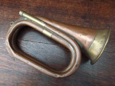 Antique British Army Ww1 Era Brass And Copper Military Bugle / Trumpet