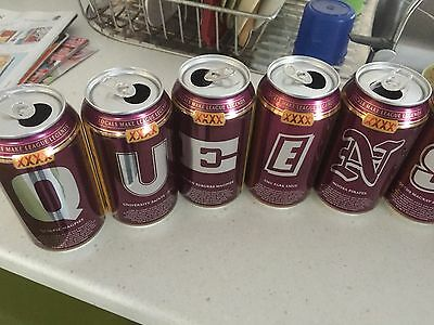 CAVEMAN SPECIAL XXXX GOLD Beer Cans Set of 12 QUEENSLANDER Cans Top Opened