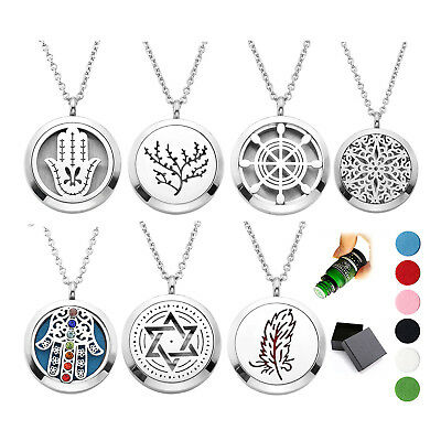 316L Stainless Steel Essential Oil Diffuser Open Locket Pendant Chain Necklace