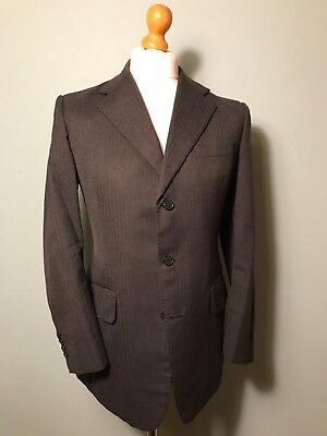 Vintage bespoke three 3 piece herringbone charcoal grey suit size 40