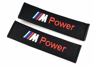 2 X M POWER BMW Cotton Black Seat Belt Cover Shoulder Pads 2pcs- M POWER AU