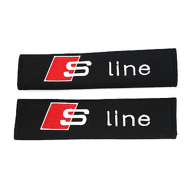 2 X S LINE Cotton Black Seat Belt Cover Shoulder Pads 2pcs- FORD FREE SHIPPING