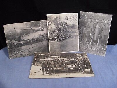 OLD WW1 WORLD WAR 1 POSTCARD GERMAN ARMY MILITARY CANNON ARTILLERY x4 PHOTOGRAPH