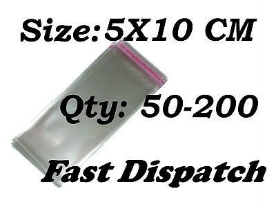 50 - 200 Cellophane Bags 5 X 10 cm Clear Cello Display Self Adhesive Peel & Seal