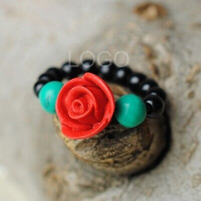 Special Women Ring Turquoise Beads Ring Curved Lacquer Ware Rose Flower