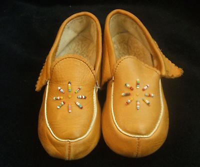 Vintage 1950's Child's Hard Sole Slippers Moccasins 7 Inches Long Blinkies Brand