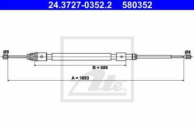 Rear Hand Brake Cable ATE 24.3727-0352.2 for Citroen