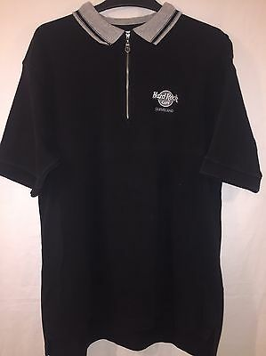 Very Rare Hard Rock Cafe Cleveland Vintage Rock And Roll Collar Half Zip Shirt