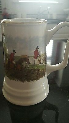 Large Stein English Hunting Scene W/ Hounds Horses  ceramic