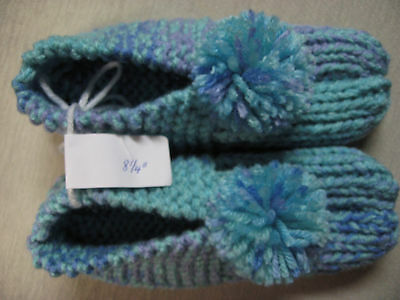 New Amish Handmade Knit House Slippers Ocean Aqua Womans Sm Mans X Sm 8 1/4""