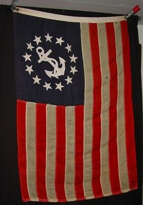 Old US Yacht Ensign Flag All Wool Maine Estate - Some AS IS