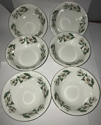Crown Staffordshire Christmas Rose 6 Dessert/ Cereal Bowls
