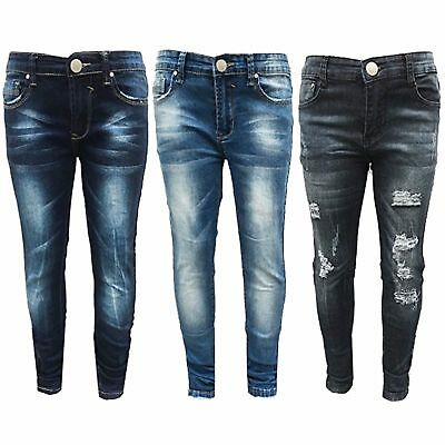 Girls Kids Stretchy Jeans Ripped Skinny pants Denim Jeans Pants New 5-12 Years