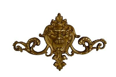 French Ormolu Bronze Pediment 19th - Faun Fancy Head Bronze Ornament 19th.c