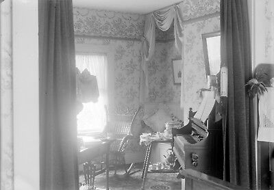 Antique glass plate photo negative 5 x 7 Victorian Home Interior Organ view 2