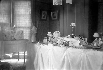 Antique glass plate photo negative 5 x 7 Victorian Home Interior Covered Tables