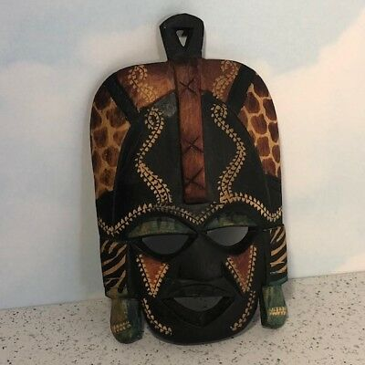 African Tribal Mask Hand Carved Wood Collectible Green Black Vintage Cheetah Tan