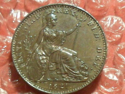 1821 George IV farthing - excellent grade.