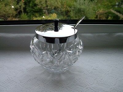 Glass Preserve, Jam, Honey or Pickle Pot With Lid with bakelite knob And Spoon